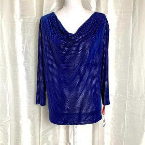 NWT  BEAUTIFUL NAVY/SILVER TOP    XLARGE